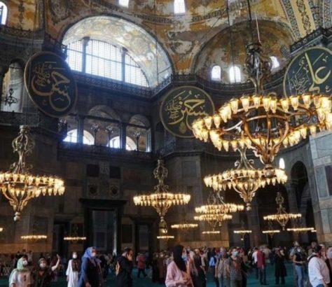 Αγία Σοφία, εσωτερικό μετά την μετατροπή σε τζαμί